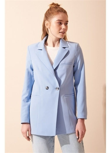 Never More Mavi Çift Düğmeli Blazer Ceket Mavi